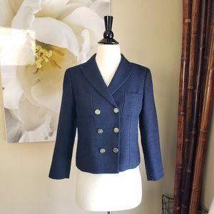 Ann Taylor ~ Navy Blue Knit Pocket Blazer ~ Sz 4P